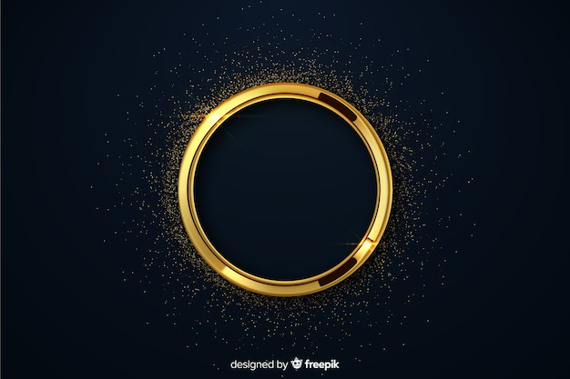 Luxury golden circle with sparkles background
