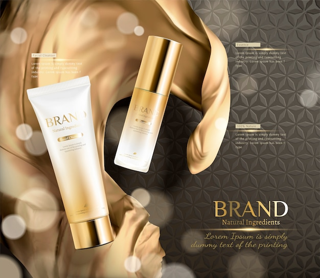 Luxury golden color skincare product ads with wavy satin in 3d illustration on brown floral seamless background