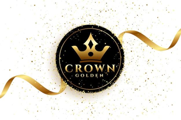 Sfondo corona d'oro di lusso con nastro