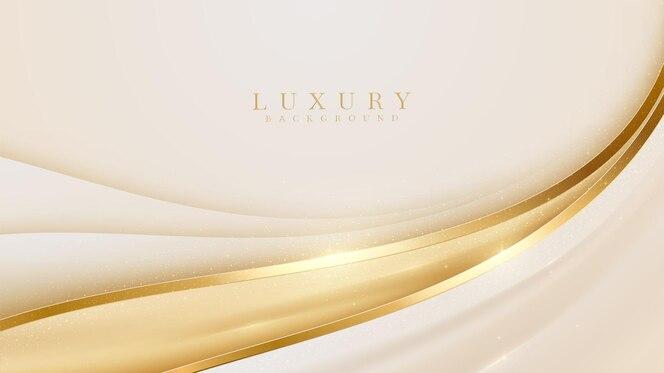 Sfondo linea curva dorata di lusso. design moderno della copertina. concetto di modello di carta di invito. illustrazione vettoriale.