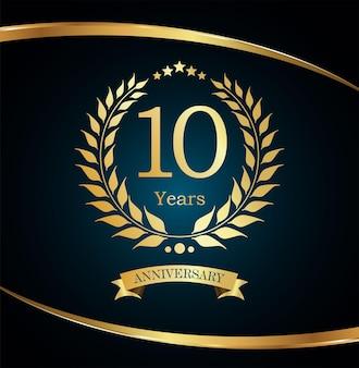 Luxury golden design laurel wreath anniversary design