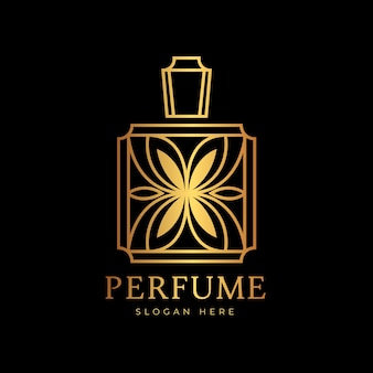Luxury and golden design perfume logo