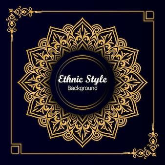 Роскошный золотой этнический стиль мандела фон