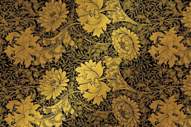 William morris의 작품에서 럭셔리 황금 꽃 배경 벡터 리믹스