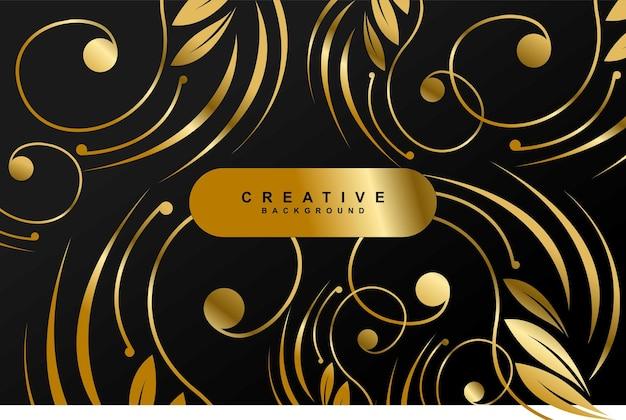 Роскошный золотой процветает черном фоне векторный дизайн