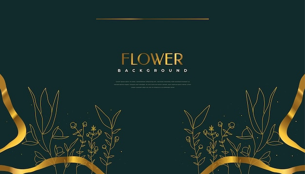 Luxury golden flower background with elegant tropical summer leaves. luxury nature background with floral illustration