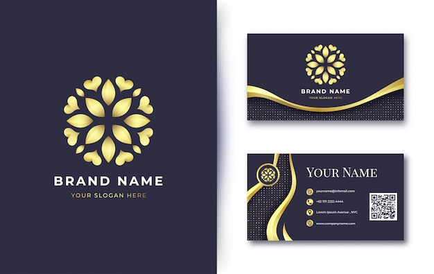 Luxury golden flower logo with business card template