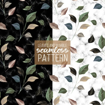 Luxury golden green leaves marble texture seamless pattern