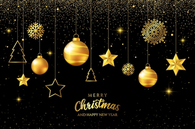 Luxury golden hanging christmas balls on black background