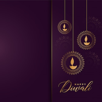 Luxury golden happy diwali greeting background