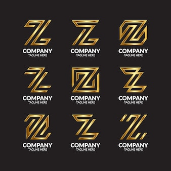 Luxury golden letter z logo collection