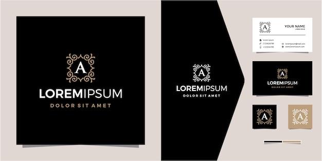 イニシャル会社の無料のパターンデザインと豪華なゴールデンロゴ