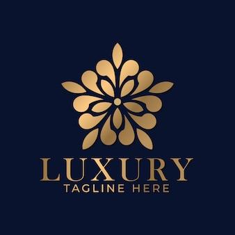 スパとマッサージビジネスのための豪華な黄金の曼荼羅のロゴのデザインテンプレート。