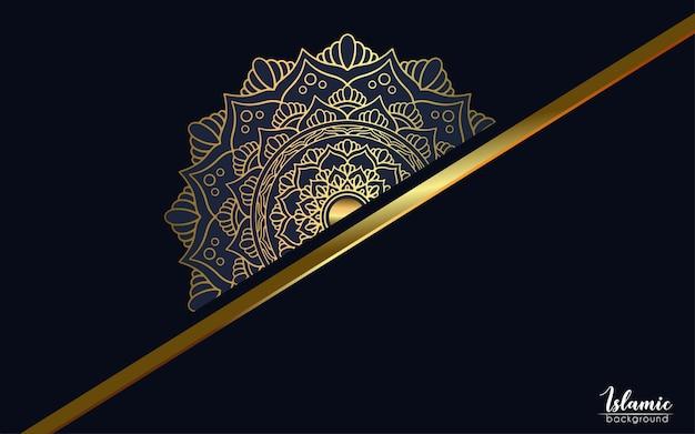 Роскошная золотая мандала богато украшенный фон, стиль арабески.