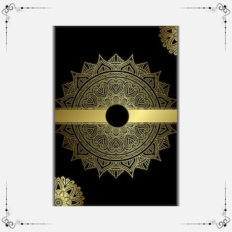 Luxury golden mandala ornate background, book cover with mandala element.