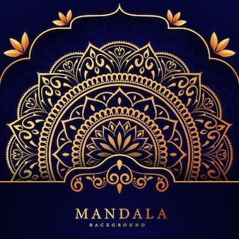 豪華な黄金の曼荼羅パターンの背景