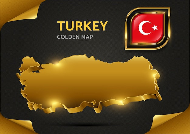 Luxury golden  map turkey