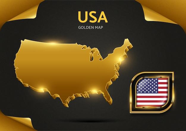 Luxury golden  map usa