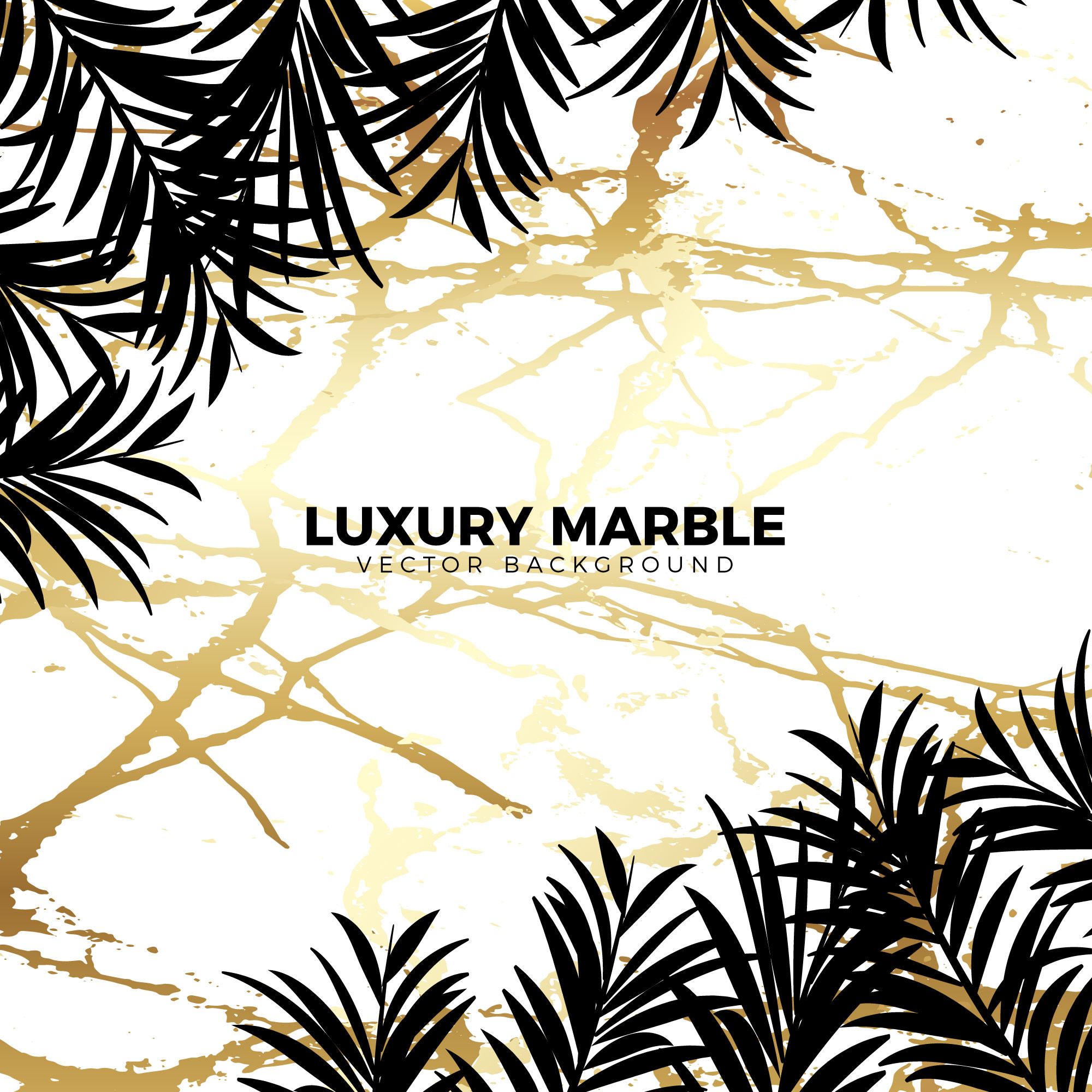 Luxury Golden Marble With Jungle Leaves