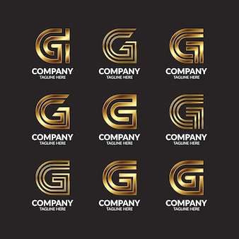 Luxury golden monogram letter g logo design collection
