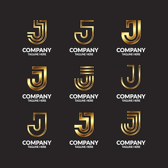 Luxury golden monogram letter j logo design collection
