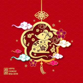 Luxury golden mouse with flowers chinese new year background