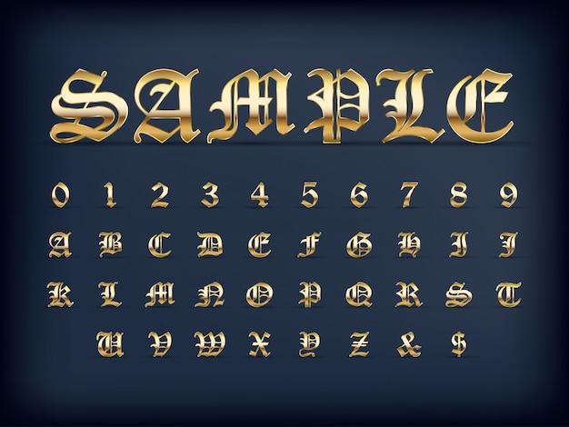 高級黄金の古い英語のアルファベット文字セットと黒い色の数字