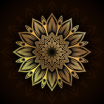 豪華な金色の装飾的な曼荼羅の背景デザイン