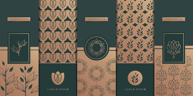Luxury golden packaging design,flower,nature,floral,olive tree,pattern.