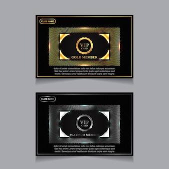 Luxury golden and platinum vip card design template