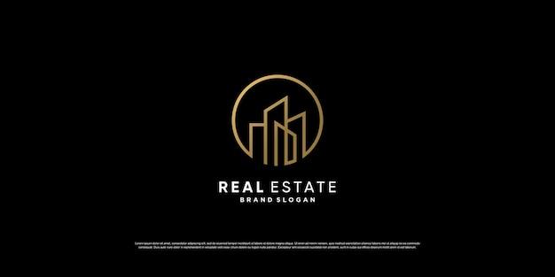 라인 컨셉의 럭셔리 황금 부동산 로고 디자인