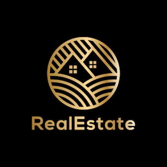 Luxury golden real estate logo