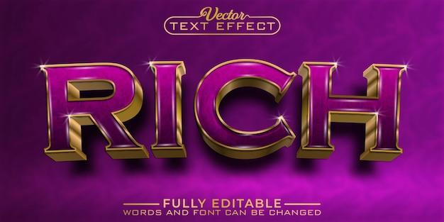 Luxury golden rich editable text effect template