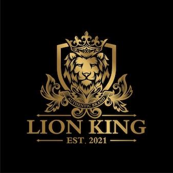 豪華なゴールデンロイヤルライオンキングのロゴデザインのインスピレーション