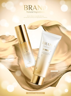 Luxury golden skincare product ads with wavy satin in 3d illustration on bokeh background
