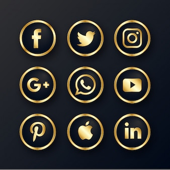 Luxury golden social media icons pack