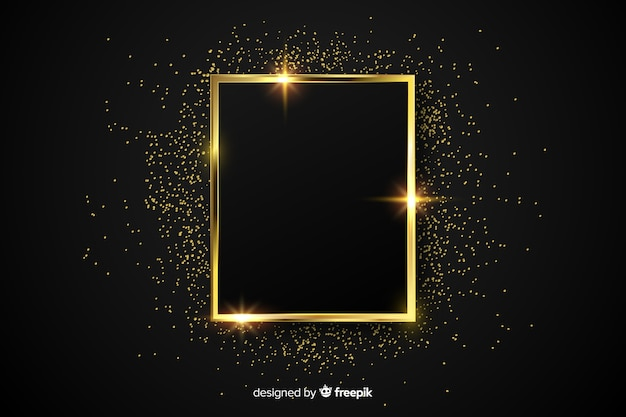 Luxury golden sparkling frame background Premium Vector
