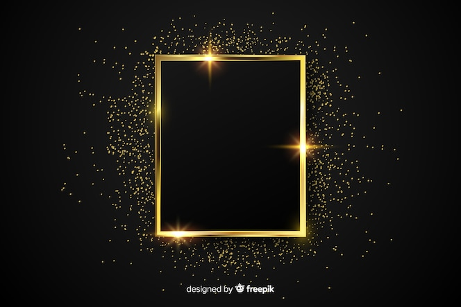 Luxury golden sparkling frame background