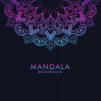 Luxury gradient color mandala ornament on dark background
