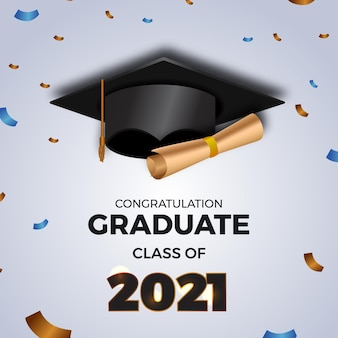 Luxury graduation party class of 2021 invitation card with graduation hat cap and paper flying confetti