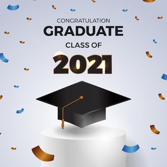Luxury graduation party class of 2021 invitation card with graduation hat cap on the podium cylinder stage and paper flying confetti