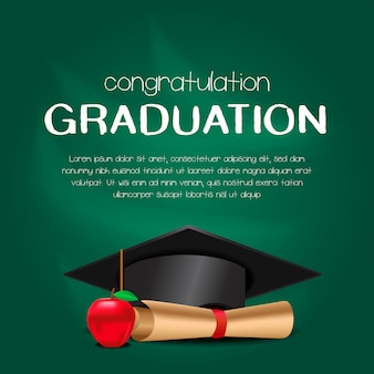 Luxury graduation party invitation card with hat