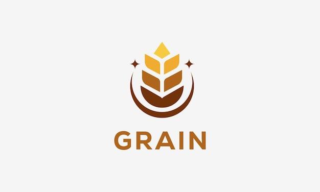 Роскошная концепция логотипа зерна пшеницы, значок вектора шаблона логотипа пшеницы сельского хозяйства