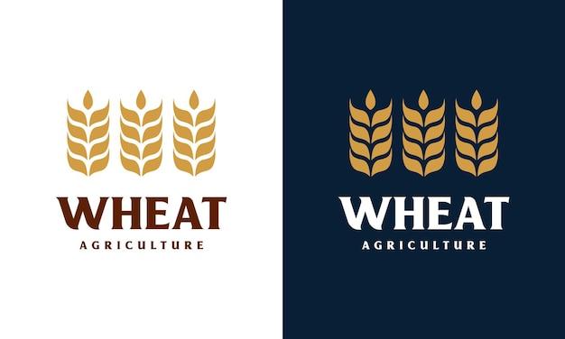 高級穀物小麦のロゴの概念、農業小麦のロゴのテンプレート