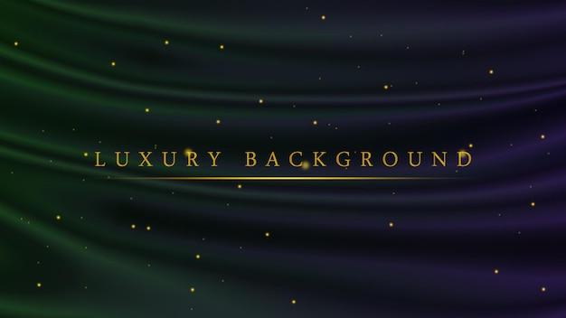 アワードやセレモニーのためのゴールデングリッタースパークル付きの豪華なグリーンとパープル