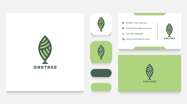 Luxury green tree logo template and business card