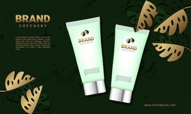 化粧品製品の高級緑バナー