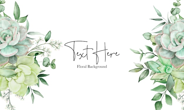 Luxury greenery floral watercolor background