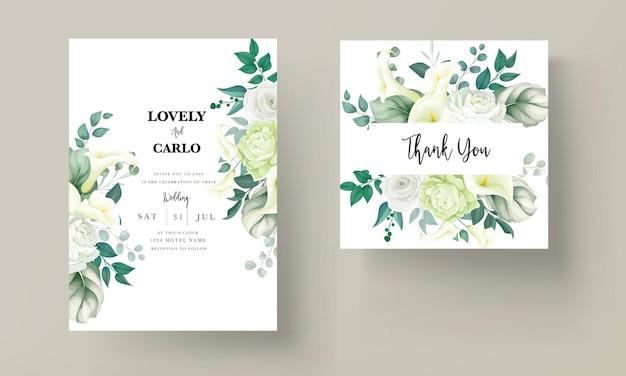 豪華な緑のユリとバラの花の結婚式の招待カード
