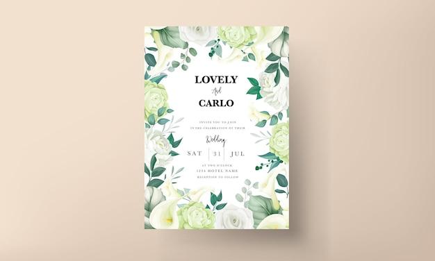Свадебный пригласительный билет роскошной зелени лилии и розы